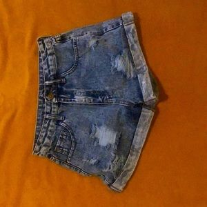 Ripped denim shorts (size XS) high waisted